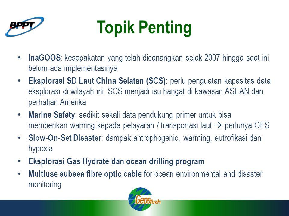 Topik Penting InaGOOS: kesepakatan yang telah dicanangkan sejak 2007 hingga saat ini belum ada implementasinya.