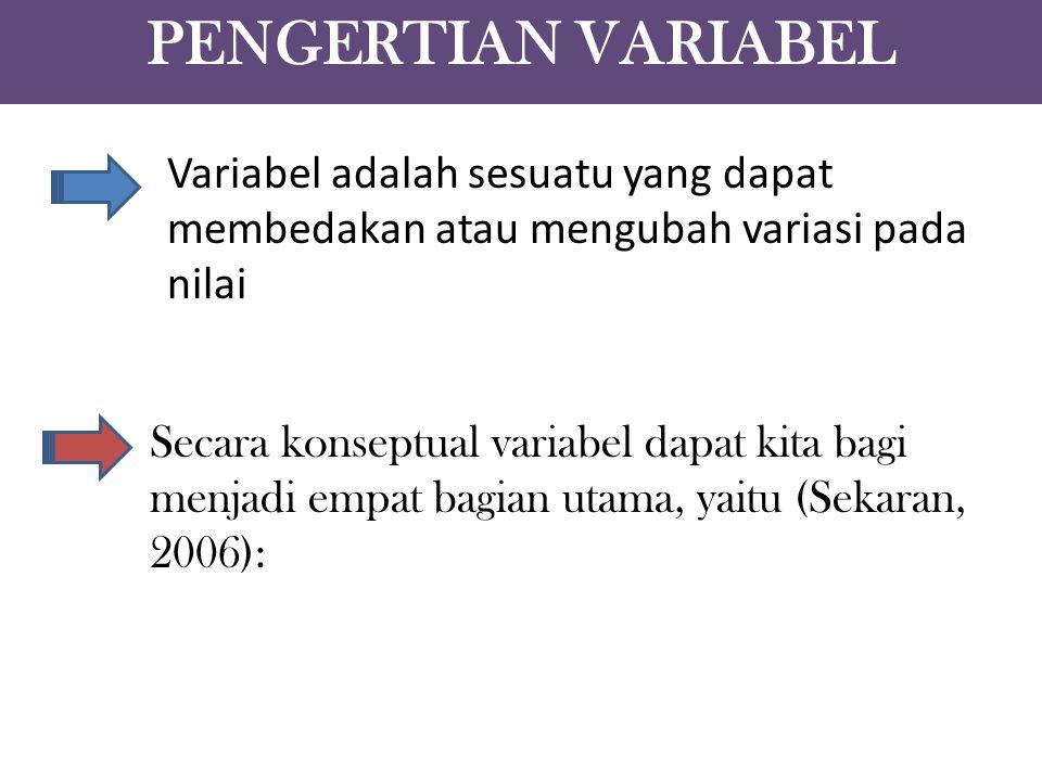 PENGERTIAN VARIABEL Variabel adalah sesuatu yang dapat membedakan atau mengubah variasi pada nilai.