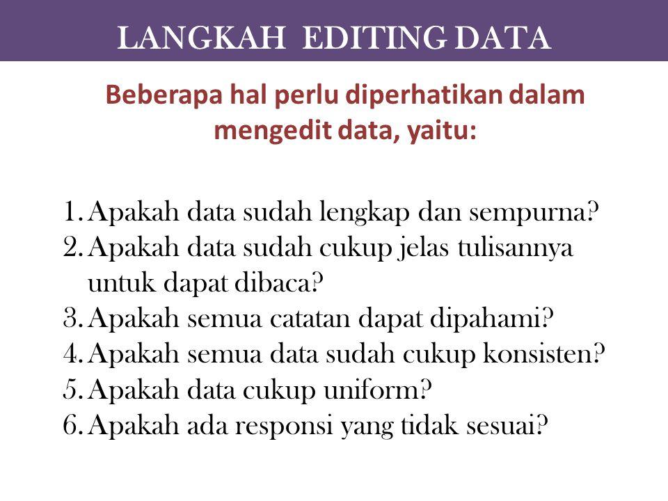 Beberapa hal perlu diperhatikan dalam mengedit data, yaitu:
