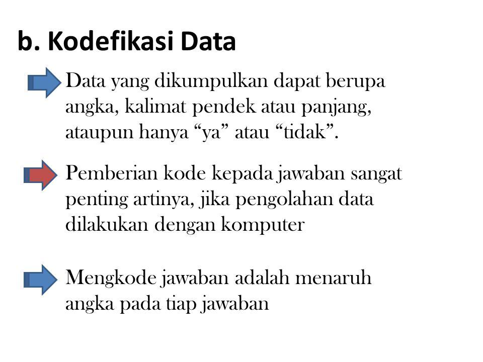 b. Kodefikasi Data Data yang dikumpulkan dapat berupa angka, kalimat pendek atau panjang, ataupun hanya ya atau tidak .