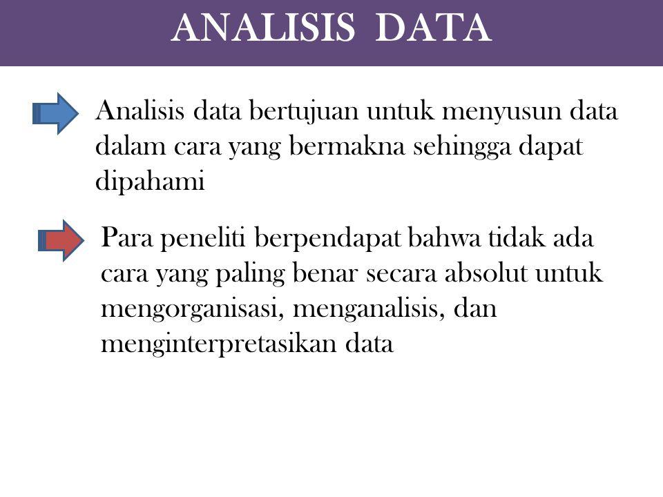 ANALISIS DATA Analisis data bertujuan untuk menyusun data dalam cara yang bermakna sehingga dapat dipahami.