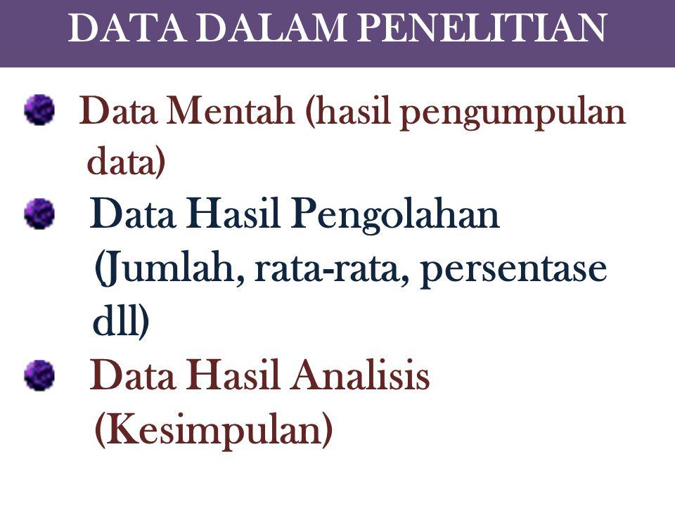 Data Mentah (hasil pengumpulan Data Hasil Pengolahan