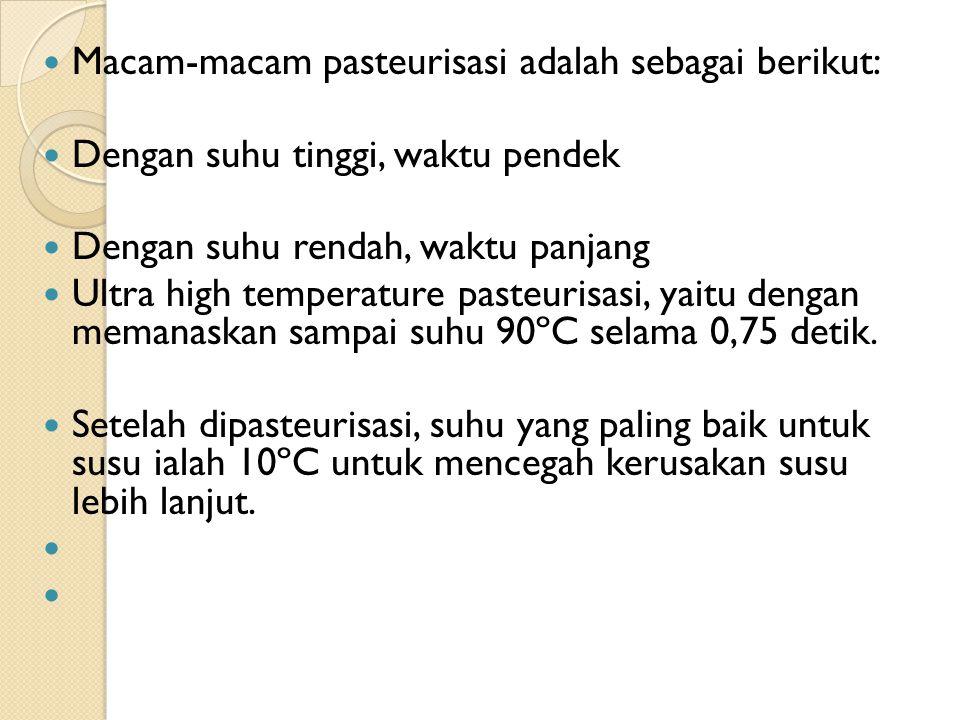 Macam-macam pasteurisasi adalah sebagai berikut: