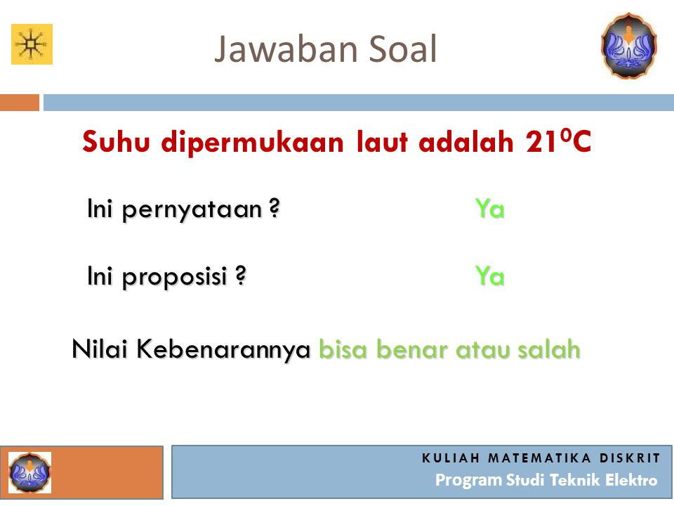 Jawaban Soal Suhu dipermukaan laut adalah 210C Ini pernyataan Ya