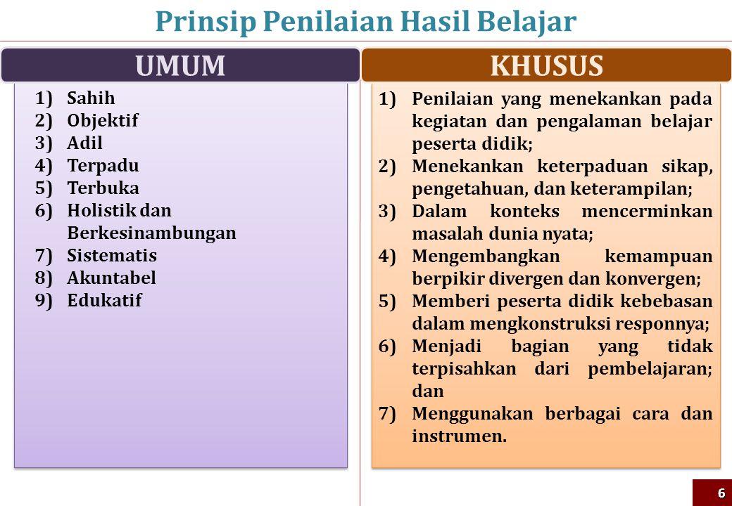 Prinsip Penilaian Hasil Belajar