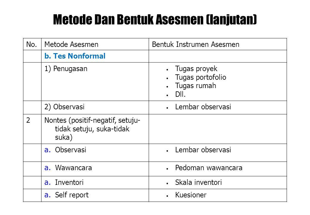 Metode Dan Bentuk Asesmen (lanjutan)