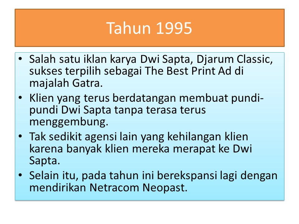 Tahun 1995 Salah satu iklan karya Dwi Sapta, Djarum Classic, sukses terpilih sebagai The Best Print Ad di majalah Gatra.