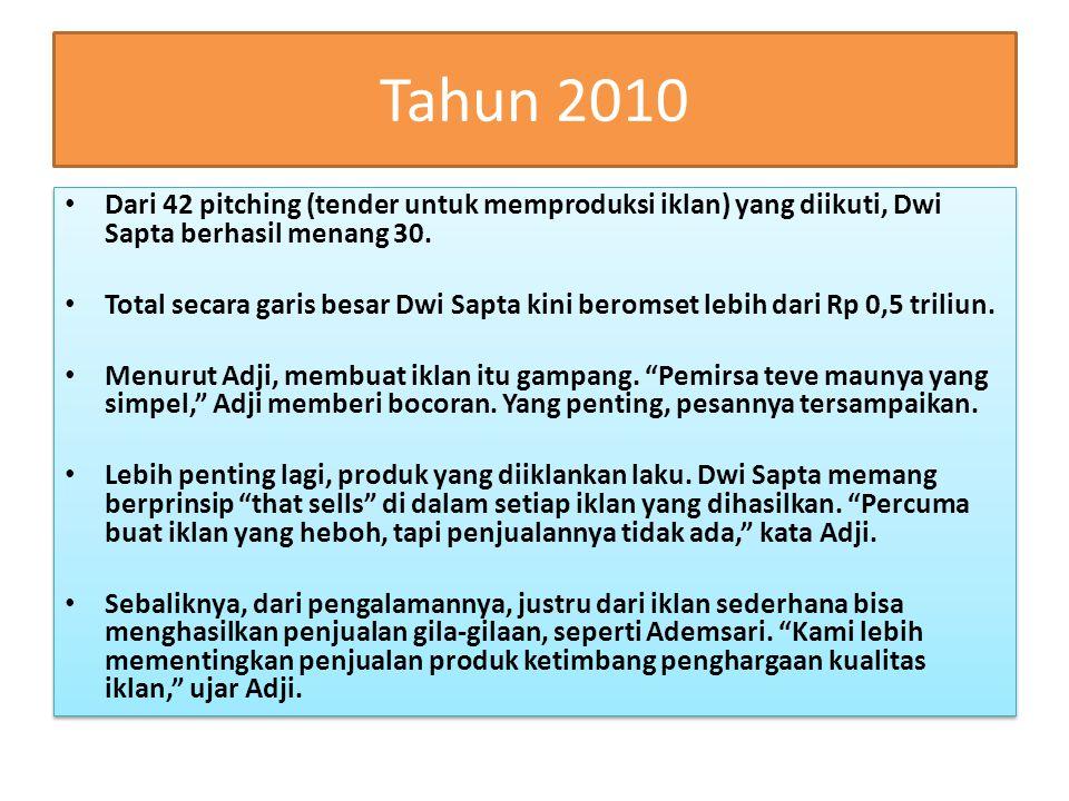 Tahun 2010 Dari 42 pitching (tender untuk memproduksi iklan) yang diikuti, Dwi Sapta berhasil menang 30.