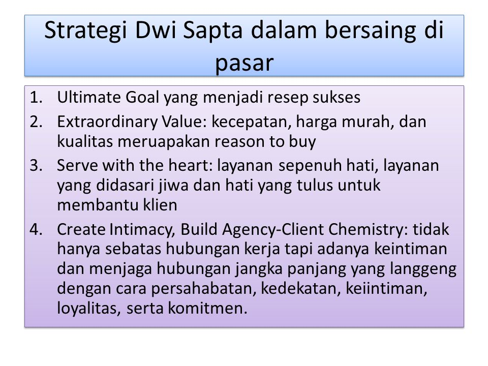 Strategi Dwi Sapta dalam bersaing di pasar