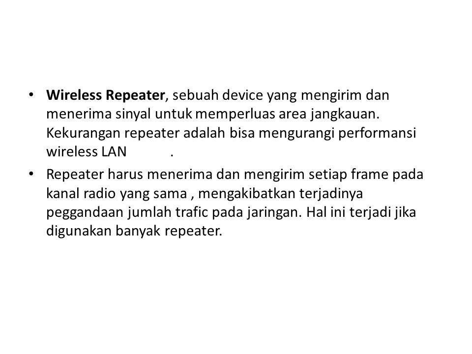 Wireless Repeater, sebuah device yang mengirim dan menerima sinyal untuk memperluas area jangkauan. Kekurangan repeater adalah bisa mengurangi performansi wireless LAN .