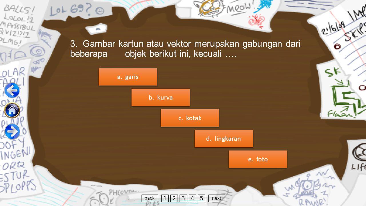 3. Gambar kartun atau vektor merupakan gabungan dari beberapa