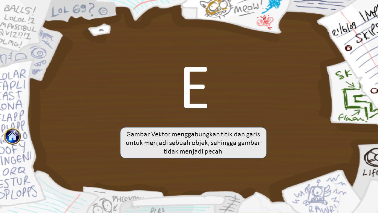 E Gambar Vektor menggabungkan titik dan garis untuk menjadi sebuah objek, sehingga gambar tidak menjadi pecah.