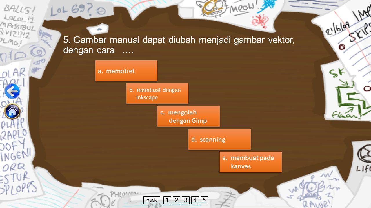 5. Gambar manual dapat diubah menjadi gambar vektor, dengan cara ….