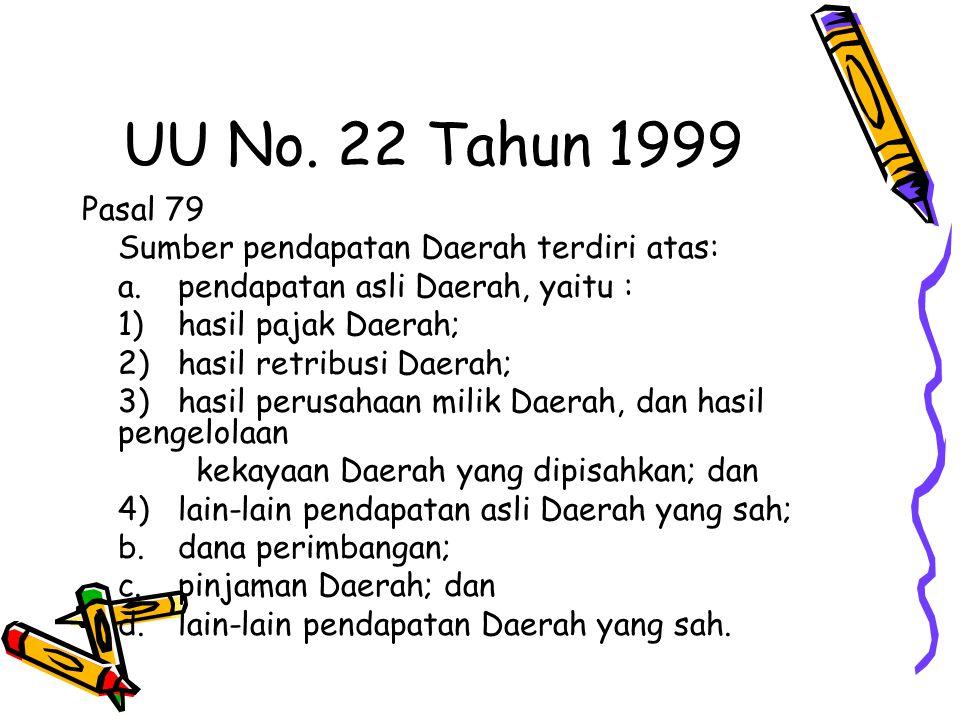 UU No. 22 Tahun 1999 Pasal 79 Sumber pendapatan Daerah terdiri atas: