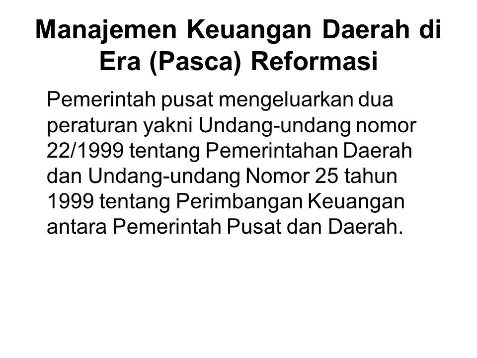 Manajemen Keuangan Daerah di Era (Pasca) Reformasi