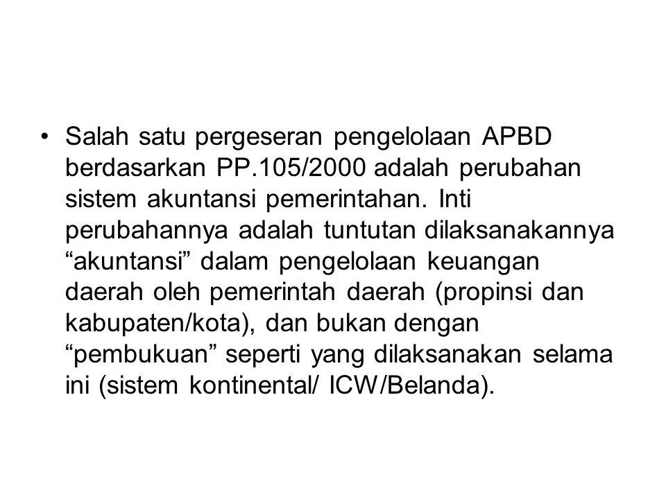 Salah satu pergeseran pengelolaan APBD berdasarkan PP