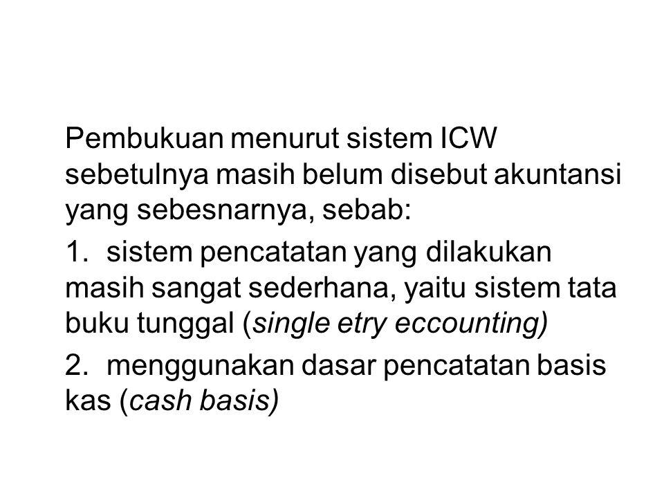 Pembukuan menurut sistem ICW sebetulnya masih belum disebut akuntansi yang sebesnarnya, sebab: