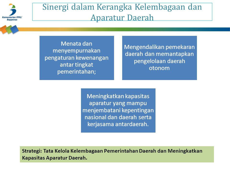 Sinergi dalam Kerangka Kelembagaan dan Aparatur Daerah