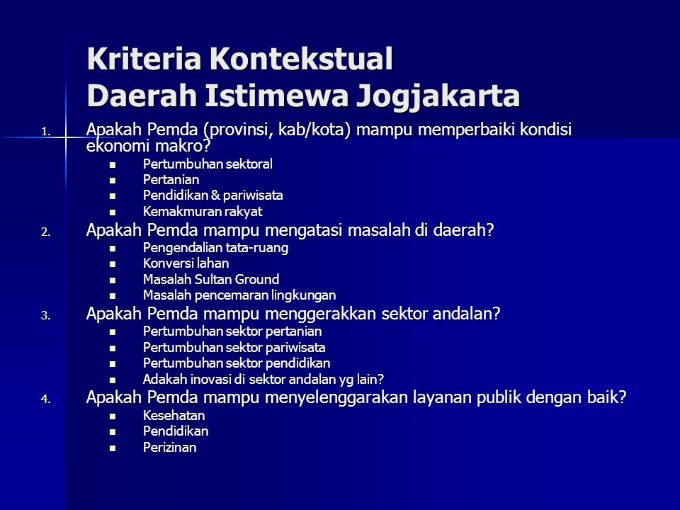 Kriteria Kontekstual Daerah Istimewa Jogjakarta