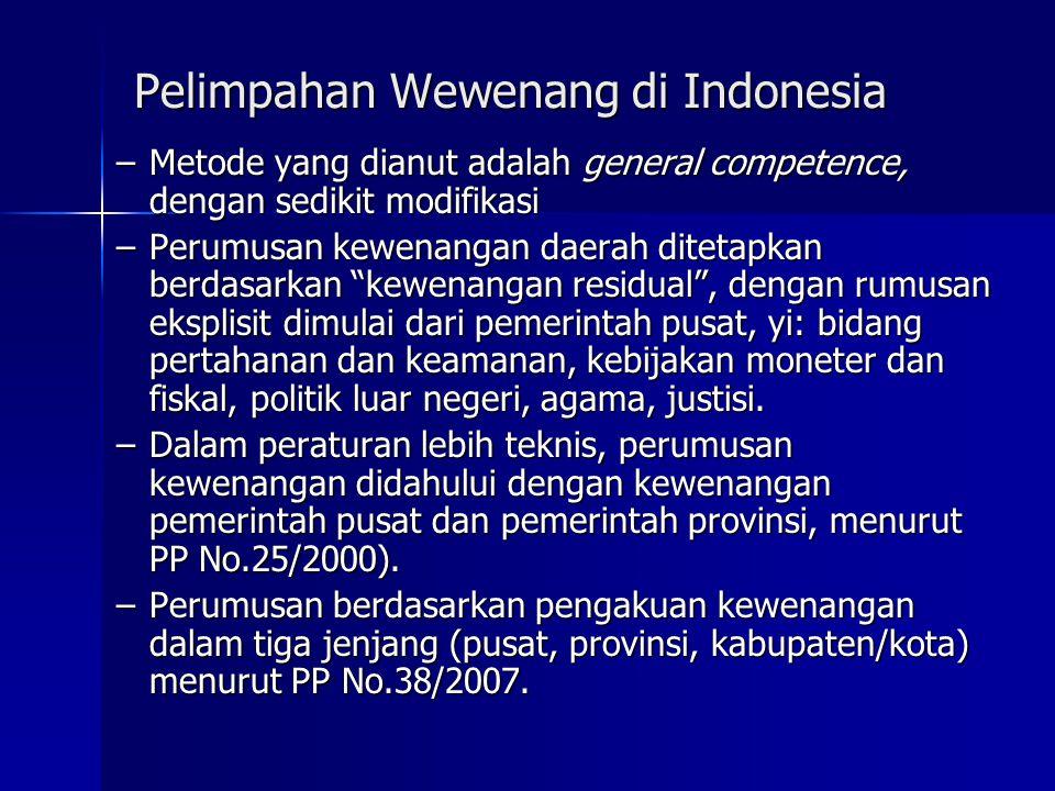 Pelimpahan Wewenang di Indonesia
