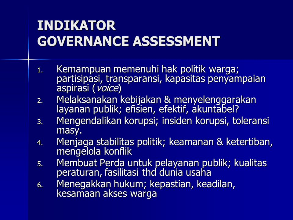 INDIKATOR GOVERNANCE ASSESSMENT