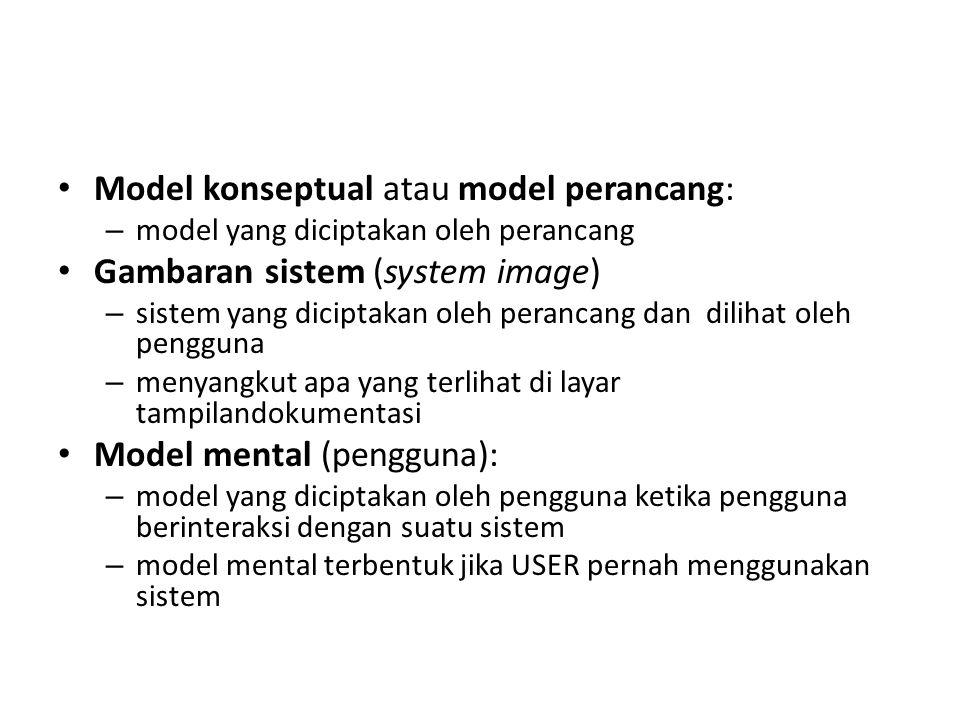 Model konseptual atau model perancang: Gambaran sistem (system image)