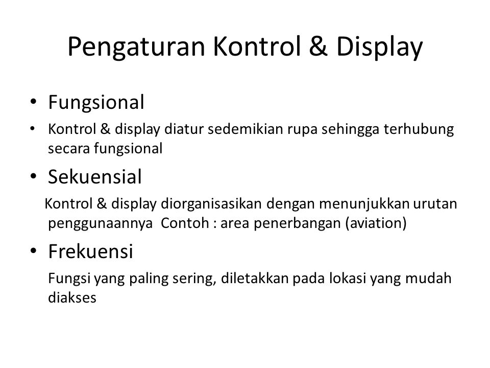 Pengaturan Kontrol & Display