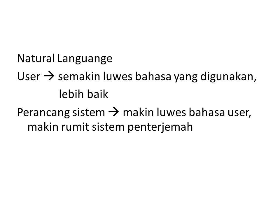 Natural Languange User  semakin luwes bahasa yang digunakan, lebih baik Perancang sistem  makin luwes bahasa user, makin rumit sistem penterjemah