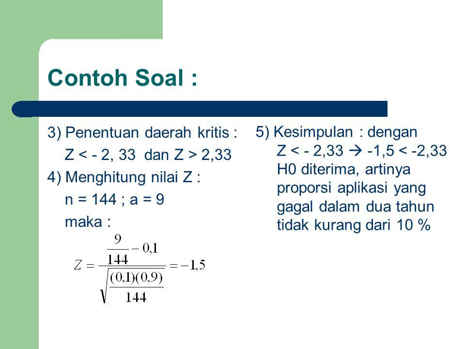 Contoh Soal : 3) Penentuan daerah kritis : 5) Kesimpulan : dengan