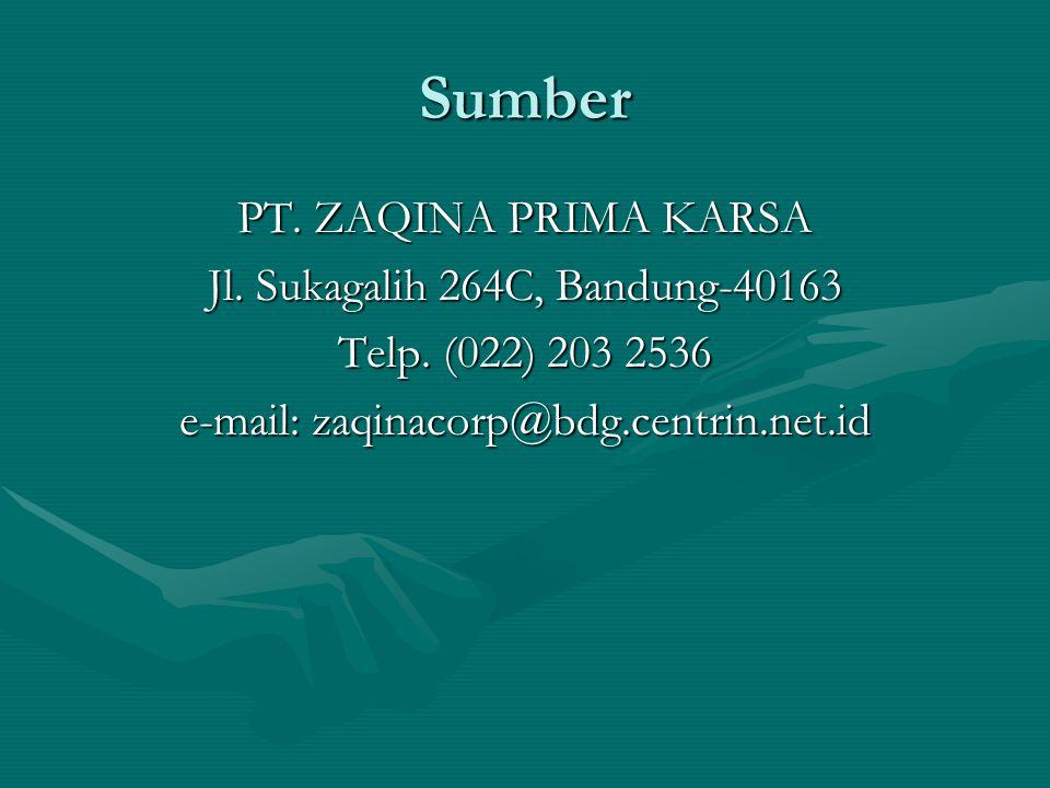 Sumber PT. ZAQINA PRIMA KARSA Jl. Sukagalih 264C, Bandung-40163