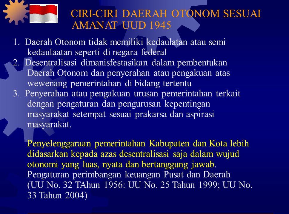 CIRI-CIRI DAERAH OTONOM SESUAI AMANAT UUD 1945