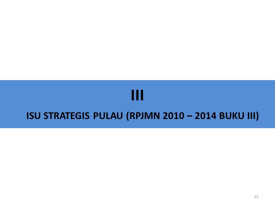 III ISU STRATEGIS PULAU (RPJMN 2010 – 2014 BUKU III)