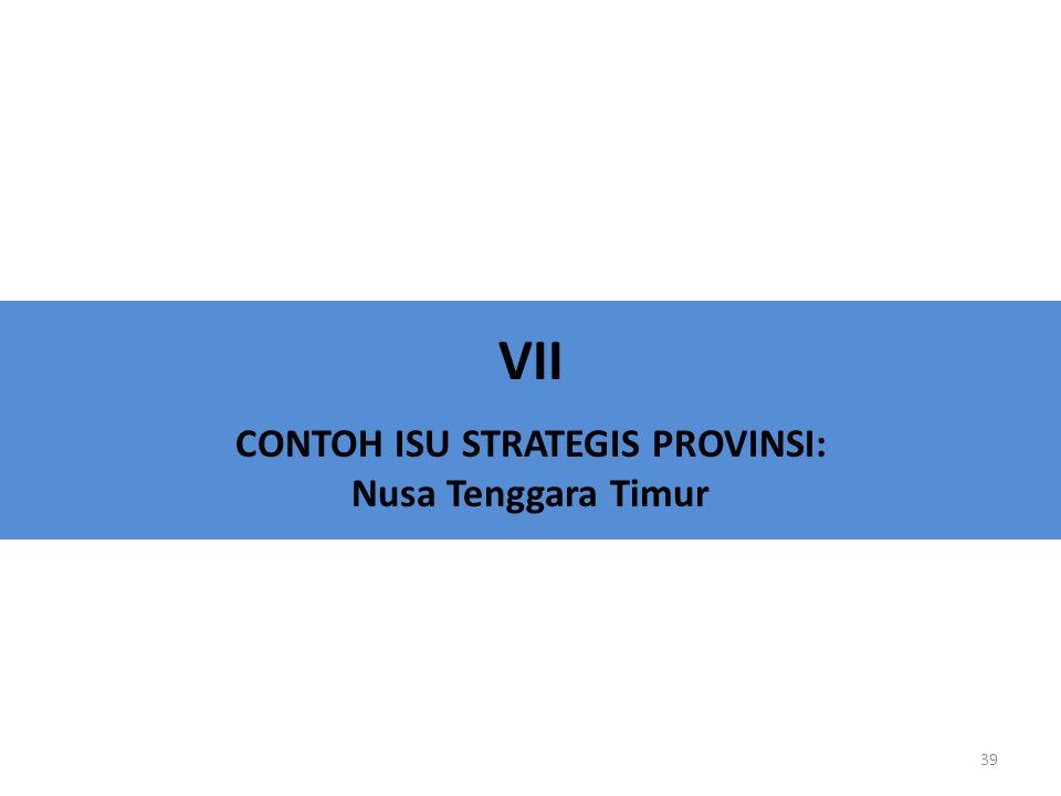 VII CONTOH ISU STRATEGIS PROVINSI: Nusa Tenggara Timur