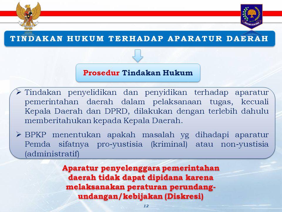 TINDAKAN HUKUM TERHADAP APARATUR DAERAH Prosedur Tindakan Hukum