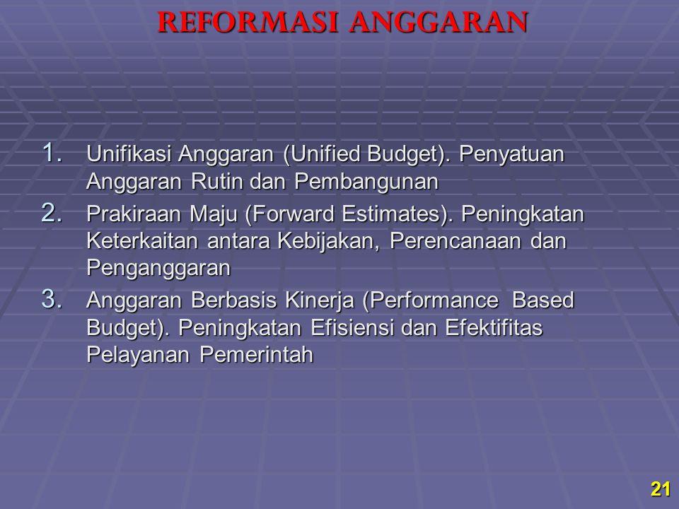 REFORMASI ANGGARAN Unifikasi Anggaran (Unified Budget). Penyatuan Anggaran Rutin dan Pembangunan.