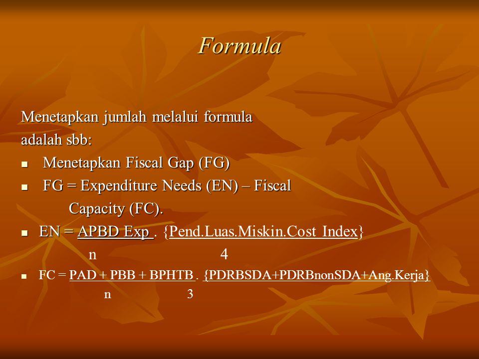 Formula Menetapkan jumlah melalui formula adalah sbb:
