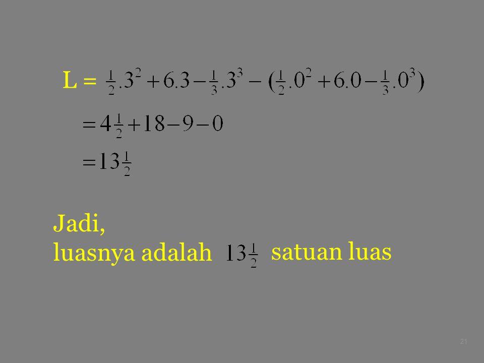 L = Jadi, luasnya adalah satuan luas