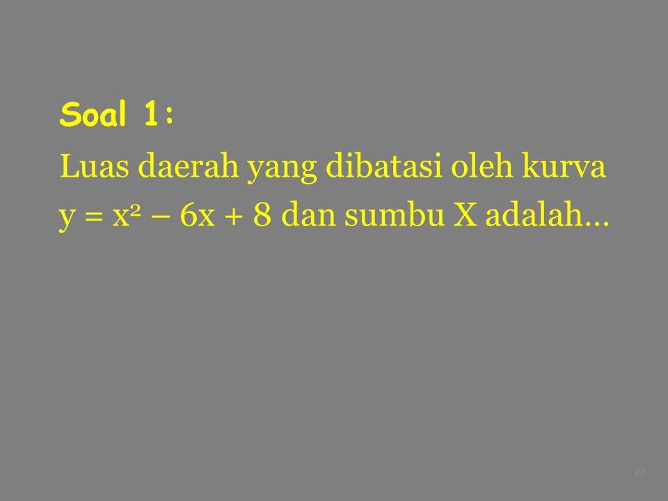 Soal 1: Luas daerah yang dibatasi oleh kurva y = x2 – 6x + 8 dan sumbu X adalah…