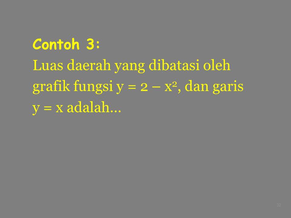 Contoh 3: Luas daerah yang dibatasi oleh grafik fungsi y = 2 – x2, dan garis y = x adalah…