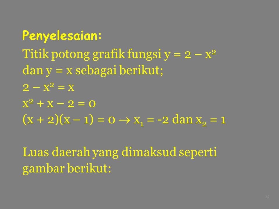 Penyelesaian: Titik potong grafik fungsi y = 2 – x2. dan y = x sebagai berikut; 2 – x2 = x. x2 + x – 2 = 0.