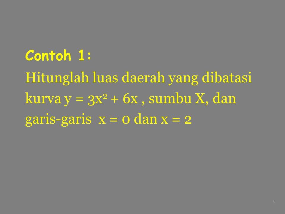 Contoh 1: Hitunglah luas daerah yang dibatasi. kurva y = 3x2 + 6x , sumbu X, dan.