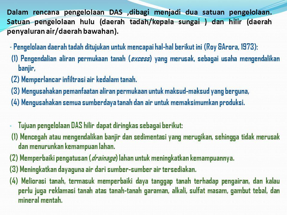 Dalam rencana pengelolaan DAS ,dibagi menjadi dua satuan pengelolaan