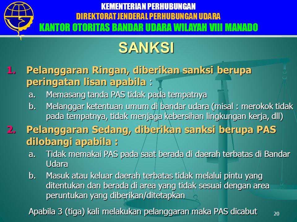 SANKSI Pelanggaran Ringan, diberikan sanksi berupa peringatan lisan apabila : Memasang tanda PAS tidak pada tempatnya.