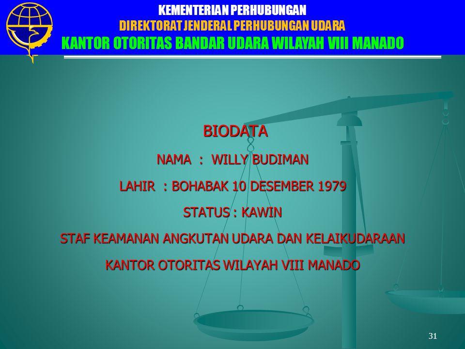 BIODATA NAMA : WILLY BUDIMAN LAHIR : BOHABAK 10 DESEMBER 1979