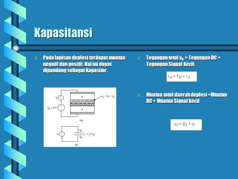 Kapasitansi Pada lapisan deplesi terdapat muatan negatif dan positif. Hal ini dapat dipandang sebagai Kapasitor.