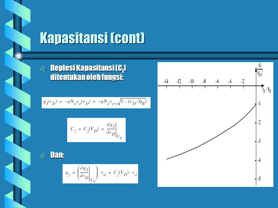 Kapasitansi (cont) Deplesi Kapasitansi (Cj) ditentukan oleh fungsi: