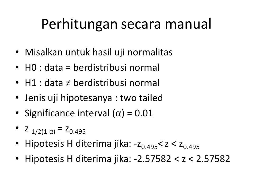 Perhitungan secara manual