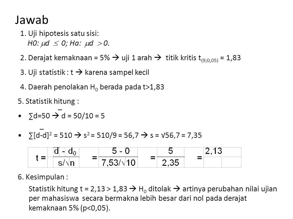 Jawab 1. Uji hipotesis satu sisi: H0: d  0; Ha: d  0.