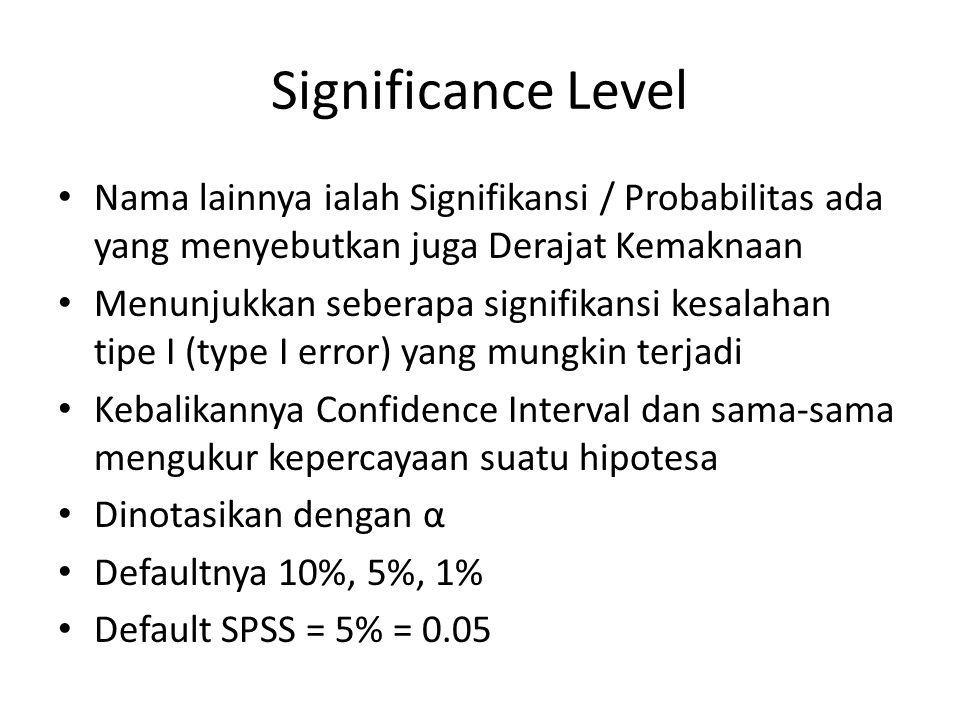 Significance Level Nama lainnya ialah Signifikansi / Probabilitas ada yang menyebutkan juga Derajat Kemaknaan.