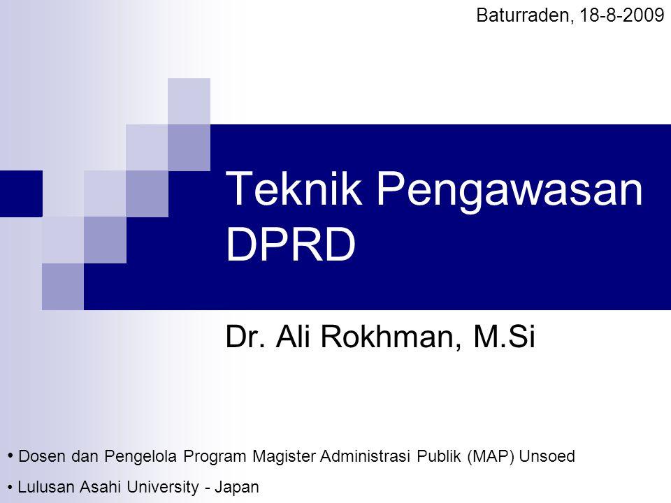 Teknik Pengawasan DPRD